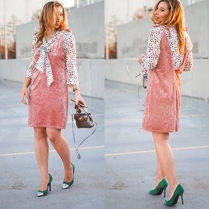 Pink Velvet Plunging Dress